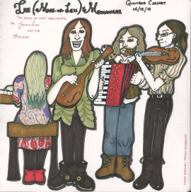 Drawing of Jessica Law and her band The Outlaws, by Lyman Gamberton