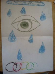 A large eye is drawn near the top of the paper, with drops of blue water falling around it. At the bottom the Olympic rings are drawn.