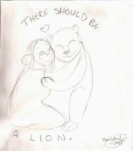 Pencil drawing of a woman hugging a lioness