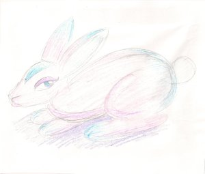 A drawing of a rabbit coloured in pink, blue and purple.