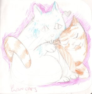 "A pencil drawing of a blue cat and an orange cat snuggled up. The background is pink. There is a heart between the cats' heads, and the words ""Love CATS"" are written at the bottom left in red."