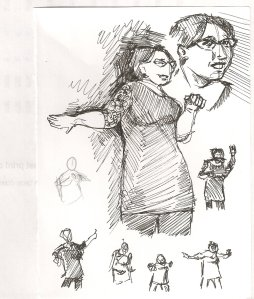 Several pen drawings of Sebastienne Stardust performing