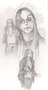 Pencil drawings of Hel Gurney performing