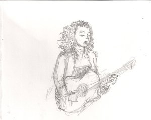 Pencil drawing of Phousa playing the guitar