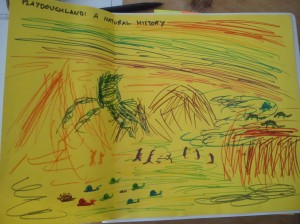 Drawing on yellow paper of a landscape with mountains, snails and dinosaurs