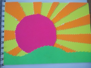 Brightly coloured image of a sun over hills