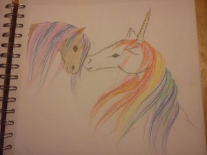 A pencil drawing of a horse and a unicorn with a rainbow coloured mane