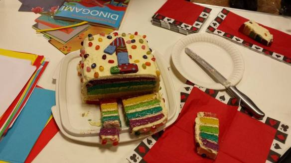 Photograph of rainbow cake